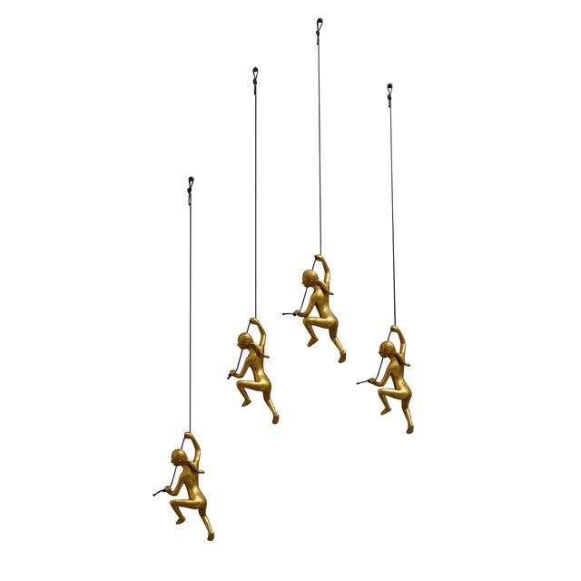Climbing Man Girl Gold Wall Art - Set of 4 - Image 1 of 6