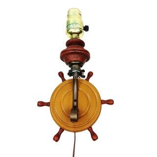 Vintage Nautical Ship Wheel Helm Sconce Lamp