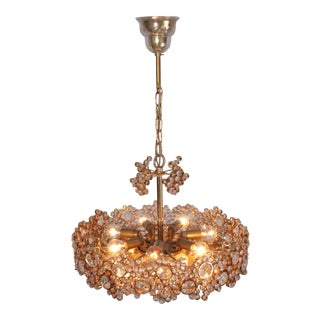 Outstanding Pair of Palwa Gilded Brass and Crystal Glass Encrusted Chandeliers