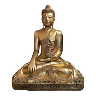 Antique Hand Carved Wood & Gold Buddha