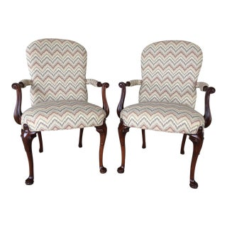Southwood Flame Stitch Cabrio Leg Accent Armchairs - A Pair