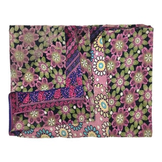 Patterned Purple Pansies Rug and Relic Kantha Quilt
