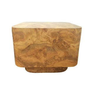 Vintage Burl Wood Veneer End Table