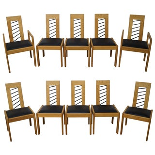Miles Carter Contemporary Ash Wood Dining Chairs - Set of 10