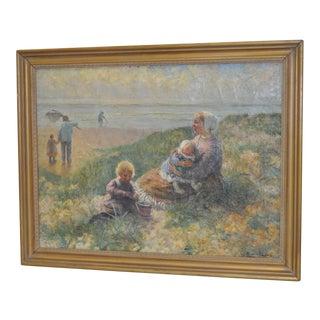 """Carl Eugene Mulertt """"Family Outing"""" Oil Painting c.1910"""