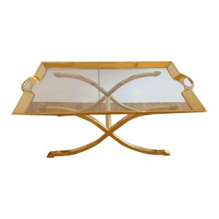 Large Polished Brass Cocktail/Coffee Table by La Barge