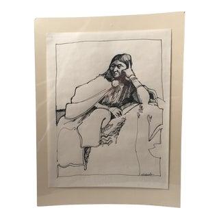 Sitting Woman Pen Drawing