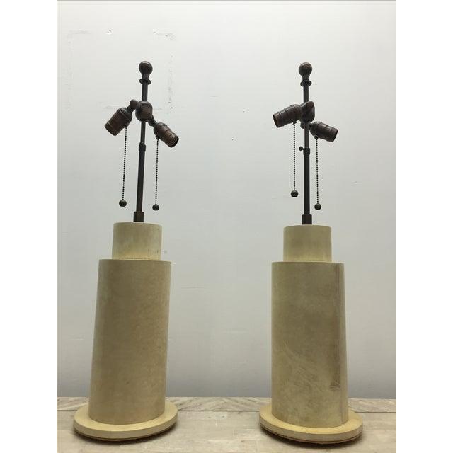 Karl Springer Goat Skin Parchment Lamps - Pair - Image 3 of 3