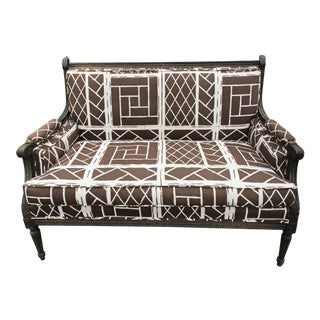 French Settee in Vintage Chippendale Fabric