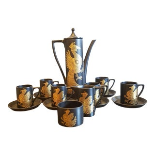 Port Meirion Black Pottery Coffee Set - Set of 6