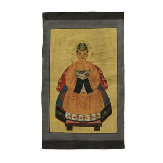 Chinese Small Canvas Color Ink Royal Lady Ancestor Paint Art