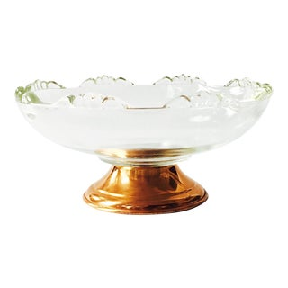 Vintage Glass Copper Pedestal Dish