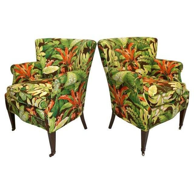 Tropical Barkcloth Chairs - A Pair - Image 3 of 7