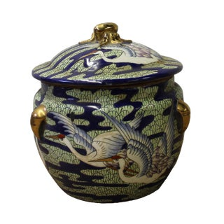 Chinese Oriental Porcelain Crane Scenery Container Box