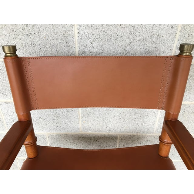 Faux Bamboo Leather Directors Chair W/ Brass Accents - Image 5 of 8