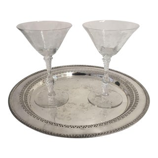 Service for 2 Antique Martini Glasses & Silver Plate Tray - Set of 3