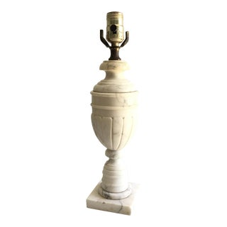 Vintage Neoclassical Carved Marble Lamp