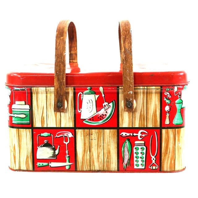 Image of 1950s Metal Picnic Basket