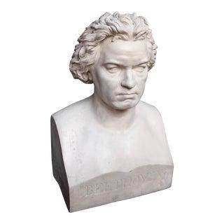 Large Vintage Plaster Beethoven Bust
