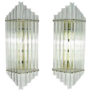 Very Large Mid-Century Lucite Sconces