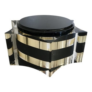 Lucite Brass Accented Lidded Box