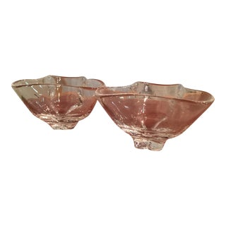 Mid-Century Steuben Glass Art Footed Bowls - A Pair