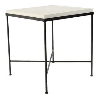 Limestone & Iron Base Side Table