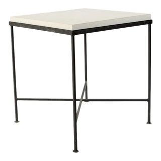 Limestone & Iron Base Side Table