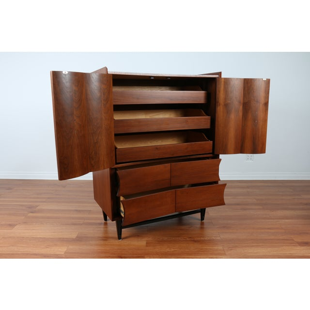 Image of Mid Century Walnut Highboy Dresser