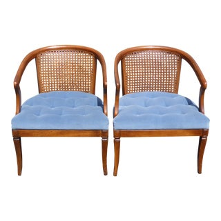 Vintage French Country Cane Back Blue Tufted Fabric Accent Club Chairs - A Pair