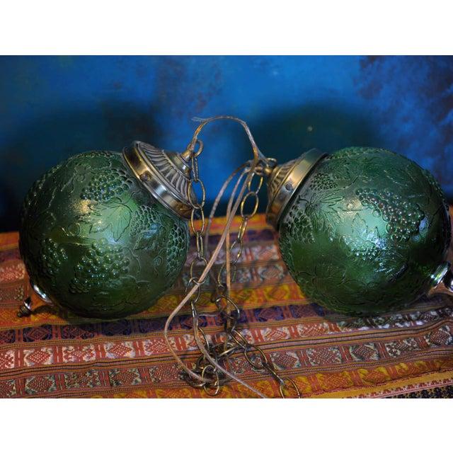 Image of Vintage Green Glass Globe Pendants
