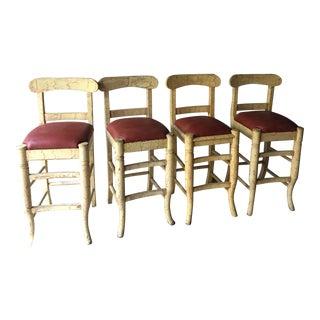 Wood & Vinyl Barstools - Set of 4