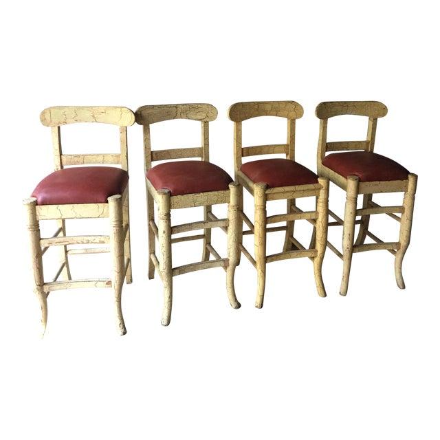 Wood & Vinyl Barstools - Set of 4 - Image 1 of 4