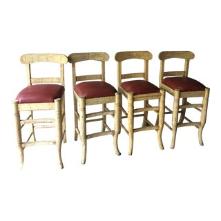Wood & Vinyl Barstools - Set of 4
