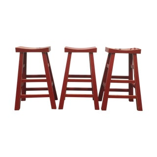 Red Solid Wood Stools - Set of 3