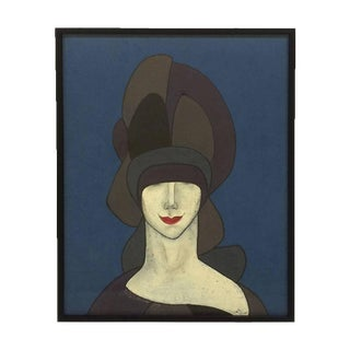 Witty Portait of Woman in Hat & Red Lips