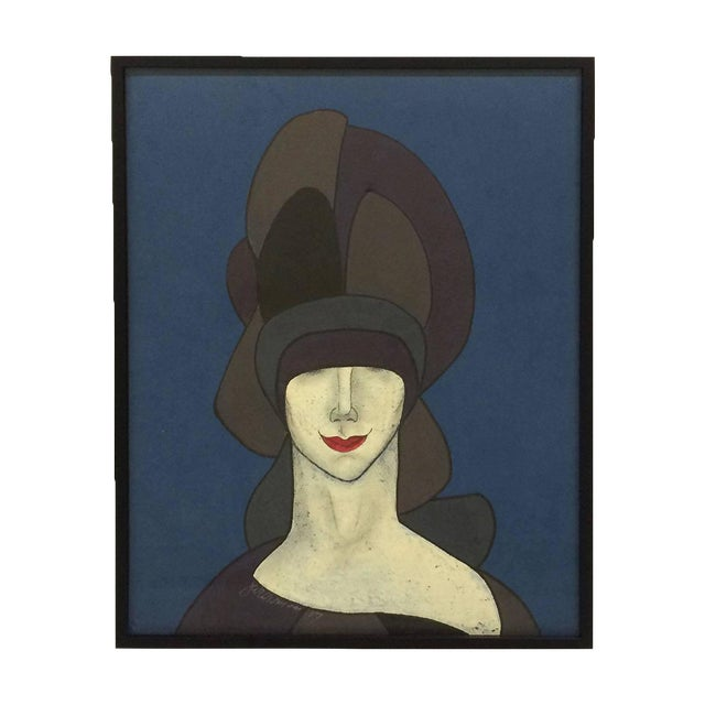 Image of Witty Portait of Woman in Hat & Red Lips