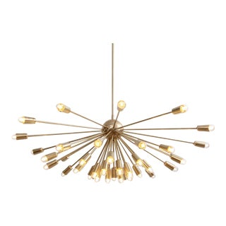 Impressive Brass Sputnik Chandelier in the Manner of Stilnovo