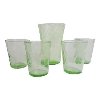 Antique Vaseline Glass Pour Glass & Shot Glasses - 5 Pieces