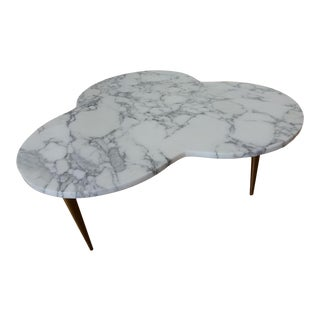 Mid-Century Modern Marble Clover Coffee Table