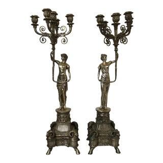 Large Antique Bronze Candelabras - A Pair