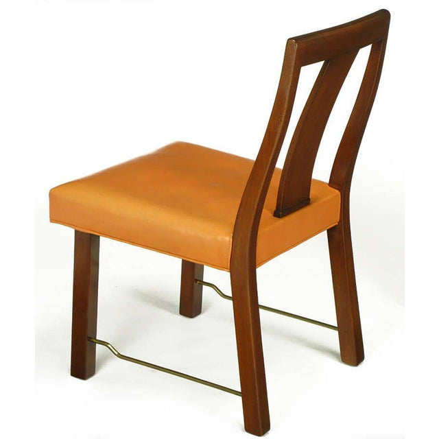 Eight Edward Wormley Mahogany, Leather and Brass Dining Chairs - Image 6 of 9
