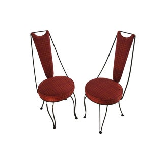 Mid-Century Red High Back Dinette Chairs - A Pair