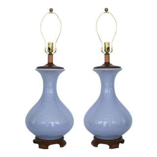 Pair of Lavender Asian Style Porcelain Lamps