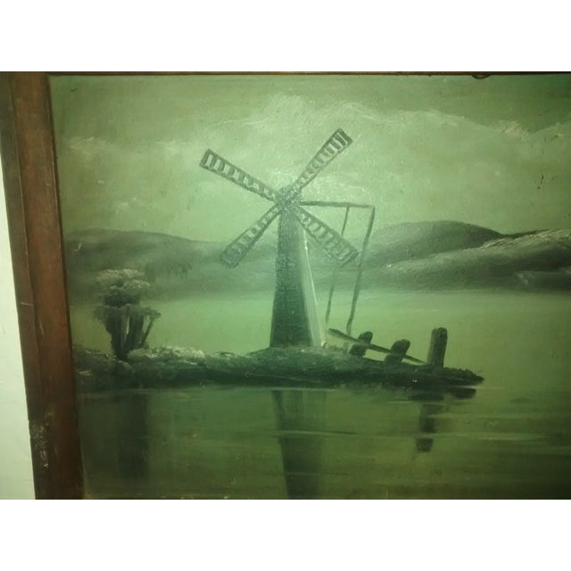 Image of European Oil Painting of a Wind Mill, Circa 1880's