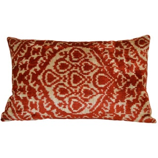 Raspberry on Beige Silk Velvet Ikat Pillow