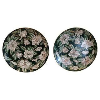Emerald & Gardenias Wall Plates - A Pair