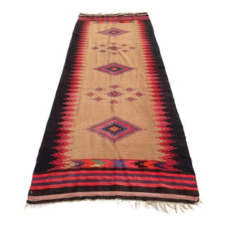 Vintage Diamond Kilim Runner - 3′8″ × 9′10″