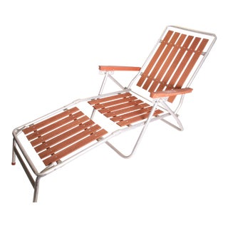 Mid Century Redwood Aluminum Folding Chaise Lounge Chair