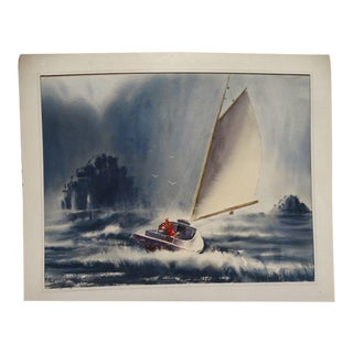 Irv Wyner: Sailing in a Squall, Watercolor Painting